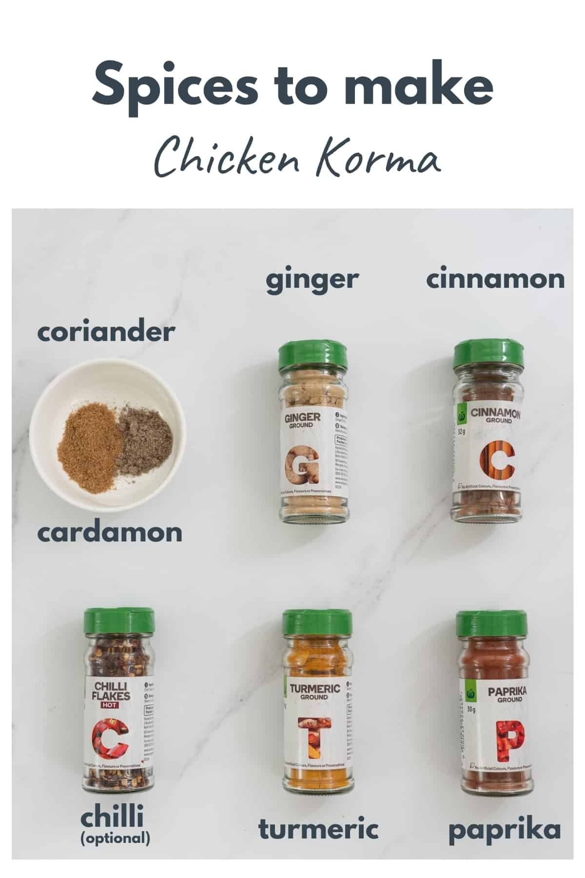 chicken korma spices laid out on a bench with text overlay
