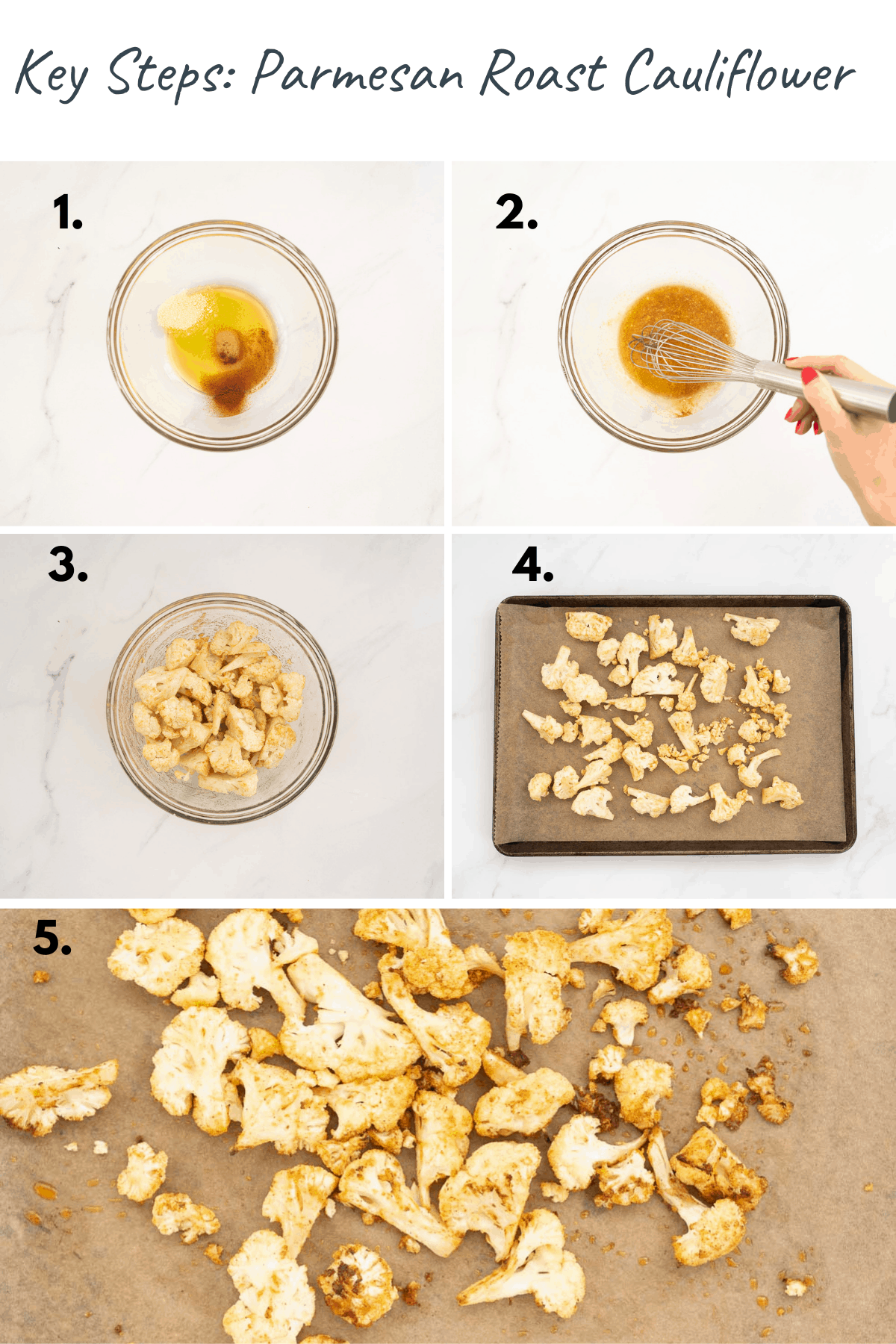 5 photo collage showing the process steps to make parmesan roast cauliflower