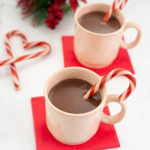 2 mugs of peppermint hot chocolate with candy canes