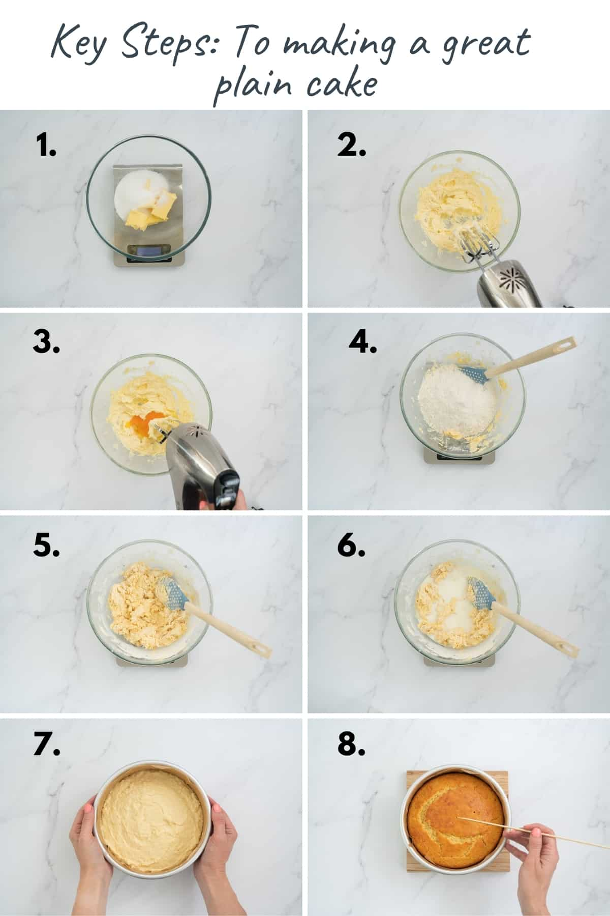 8 photo collage showing the steps to making a plain cake recipe