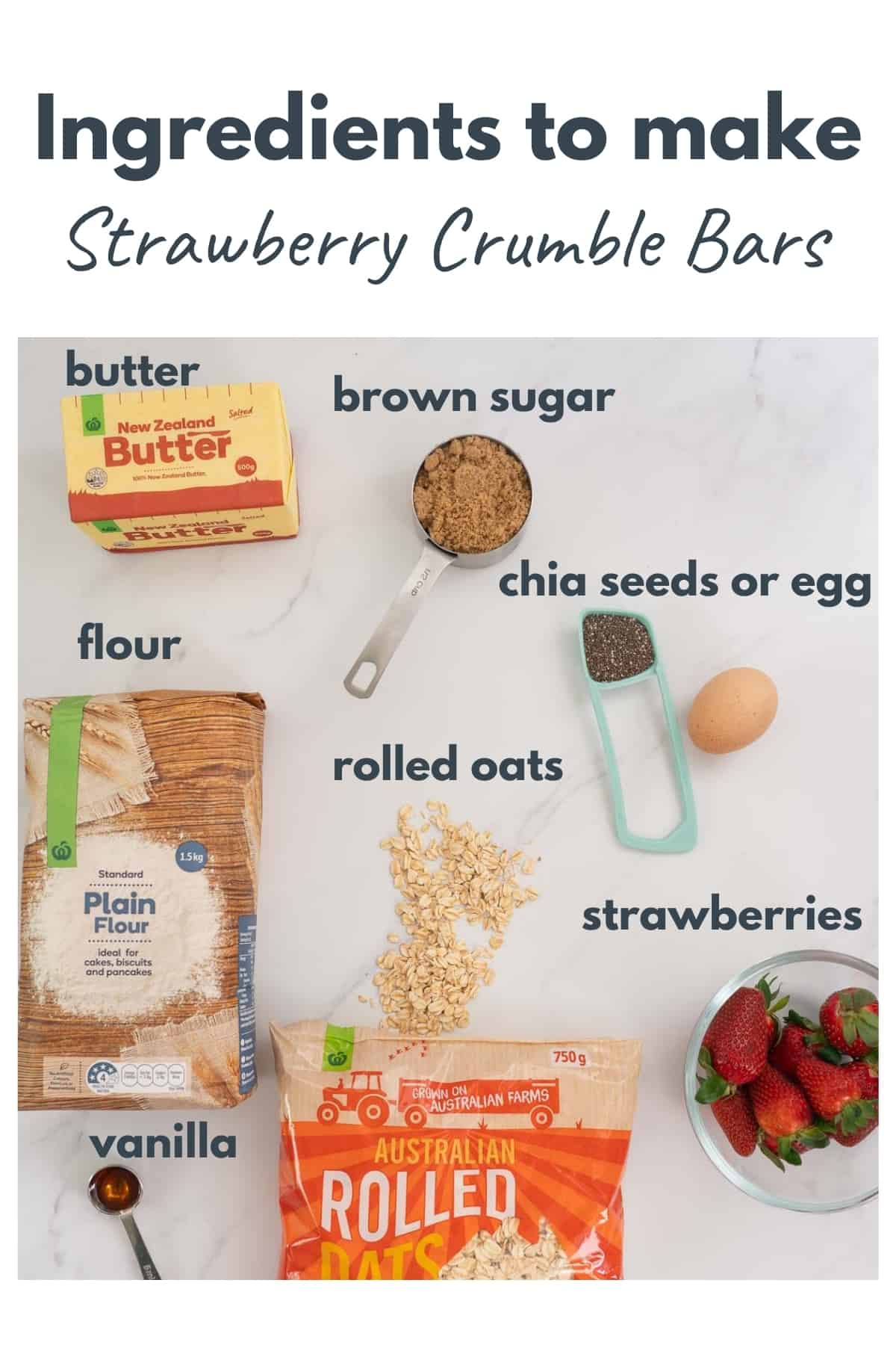 Strawberry crumble bar ingredients laid out with text overlay