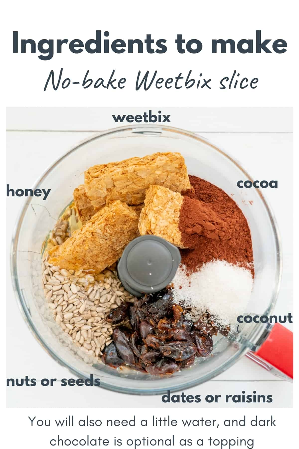 The ingredients to make a Weetbix slice in a food processor with text overlay.