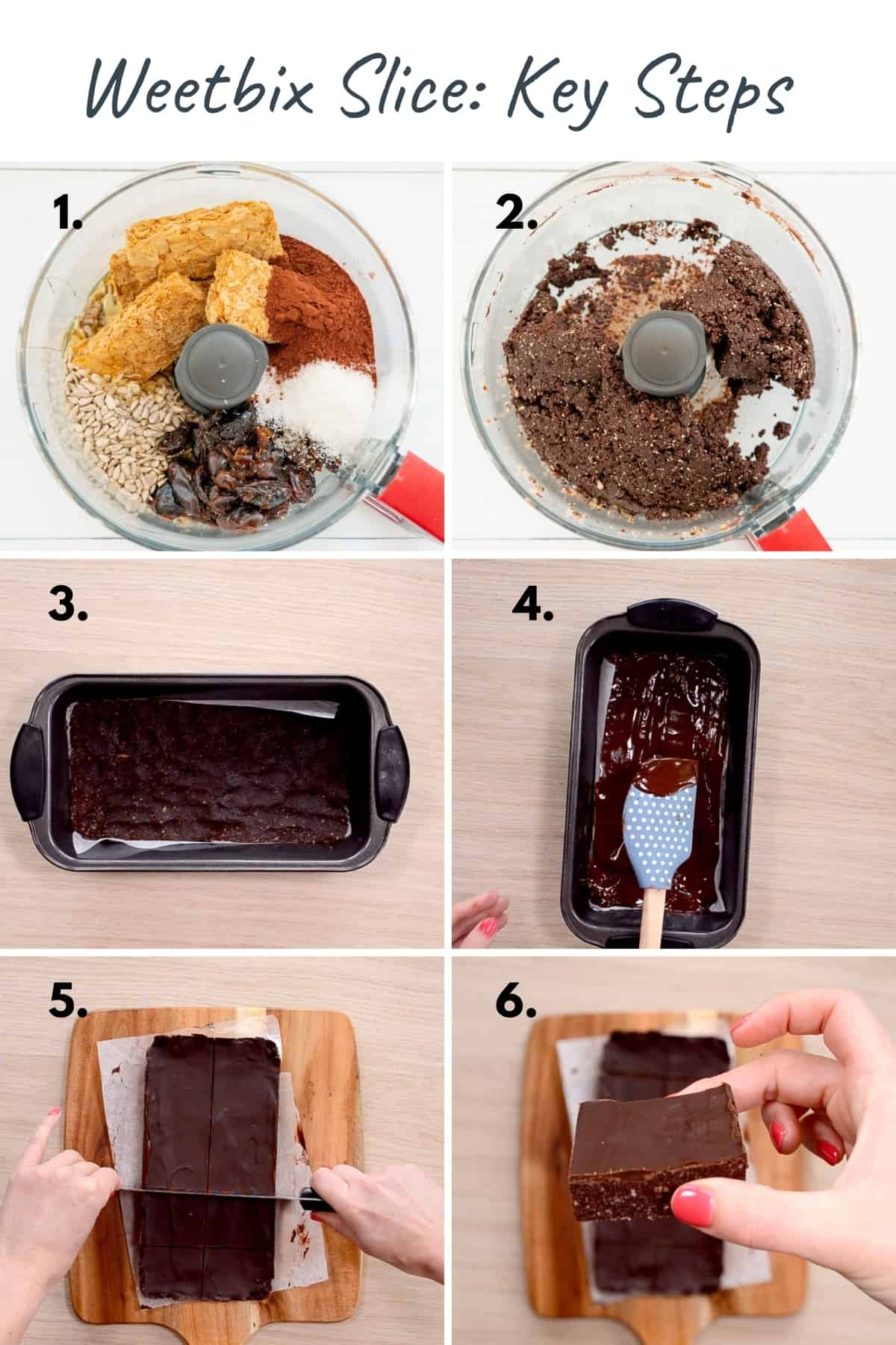 Six photo collage showing the key steps to making no-bake Weetbix slice.