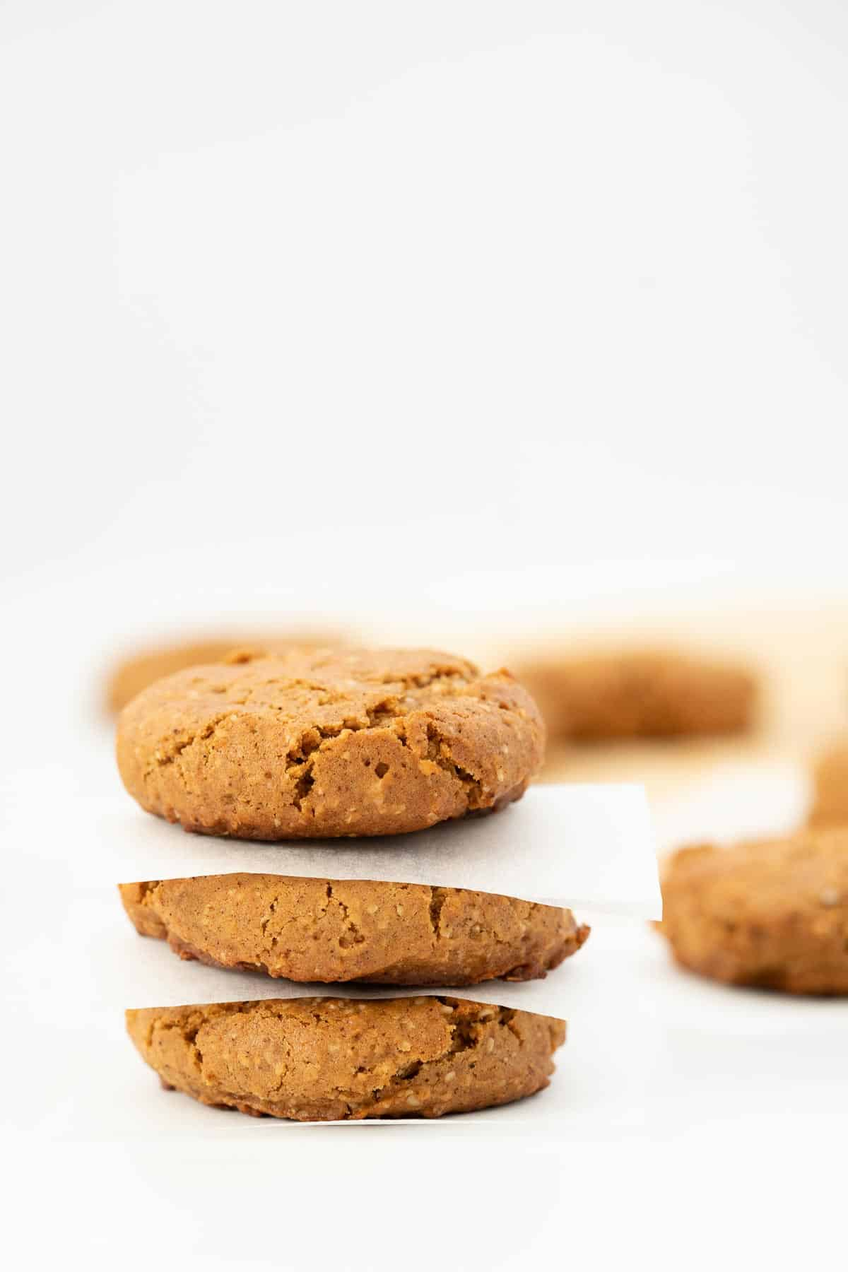 A stack of 3 cinnamon cookies, each cookie separated by a square piece of white paper.
