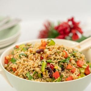 Large bowl of brown rice salad with red and green diced capsicum.