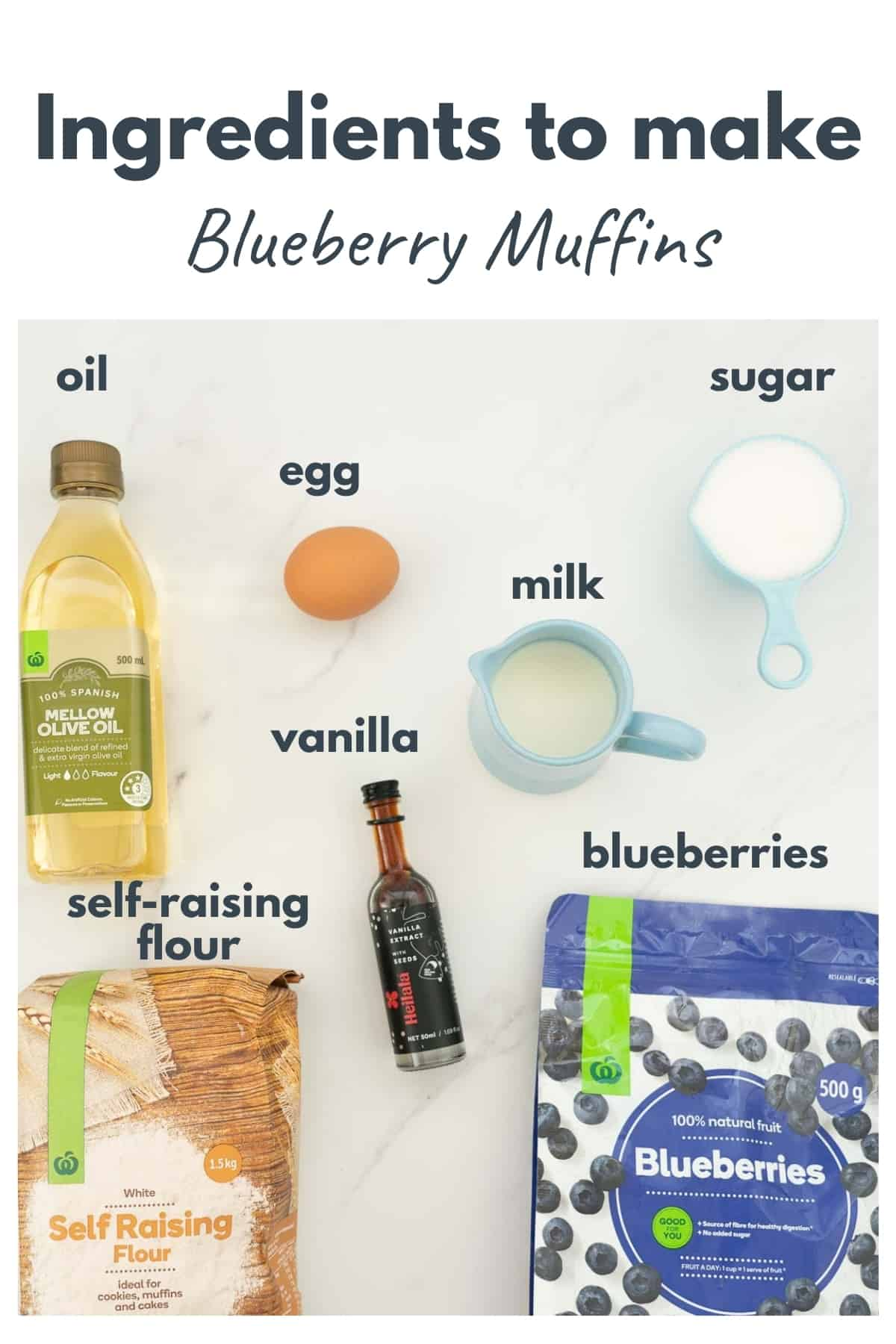 The ingredients to make blueberry muffins laid out on a bench top with text overlay.