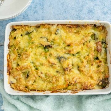 A golden cheese topped pasta baked in a rectangular dish.