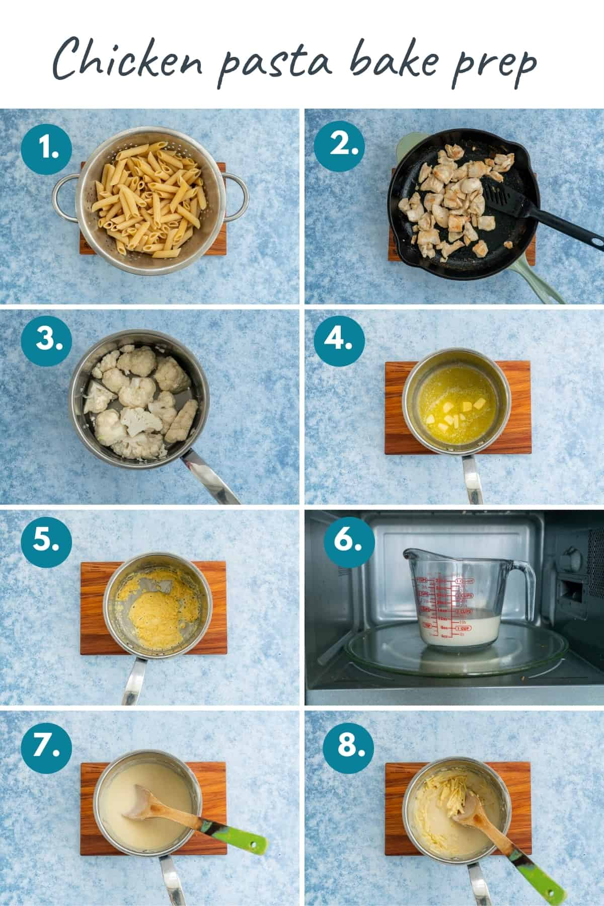 8 photo collage with text overlay showing the preparation required to make chicken pasta bake.