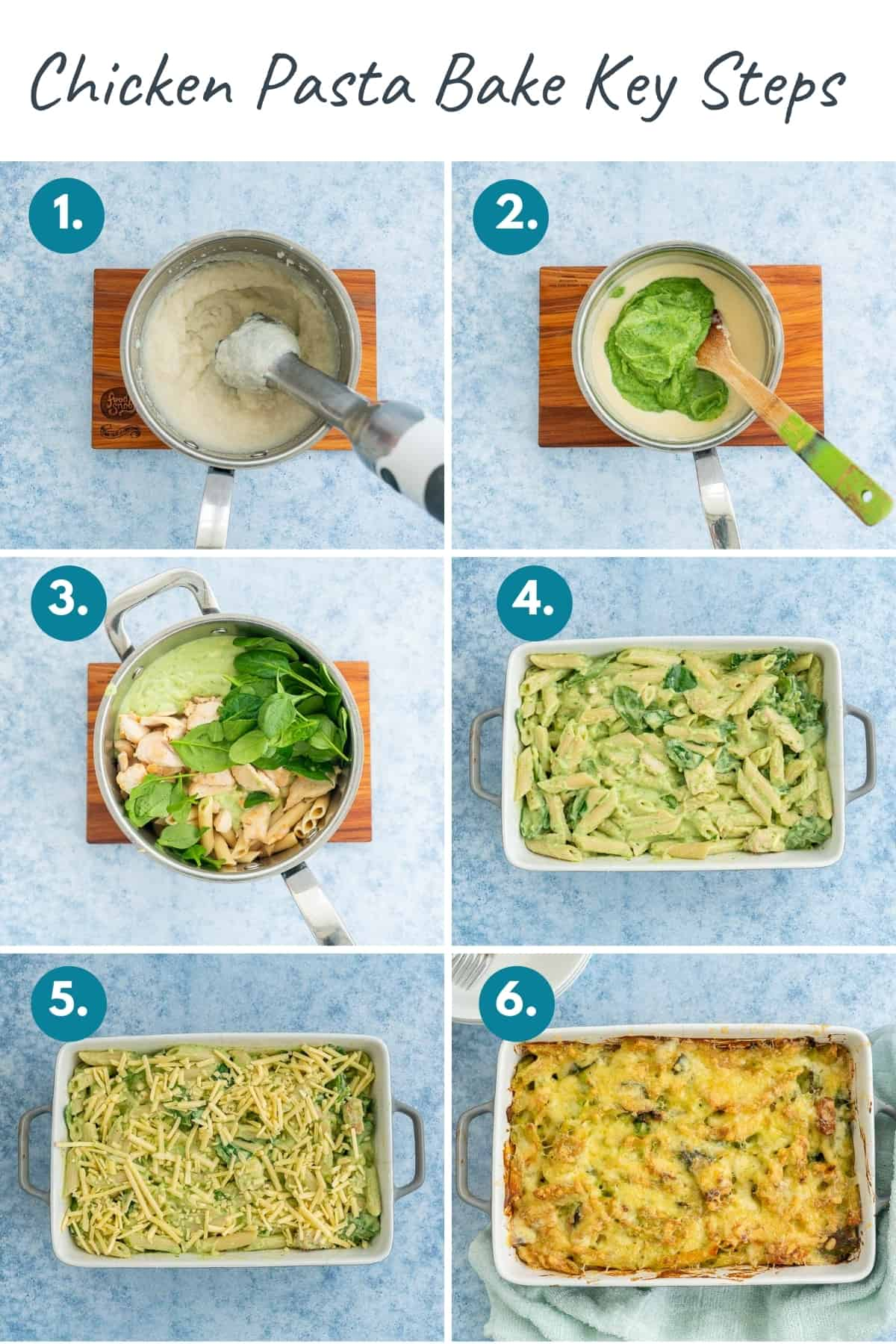 6 photo collage showing the key steps to preparing chicken pasta bake, with text overlay.