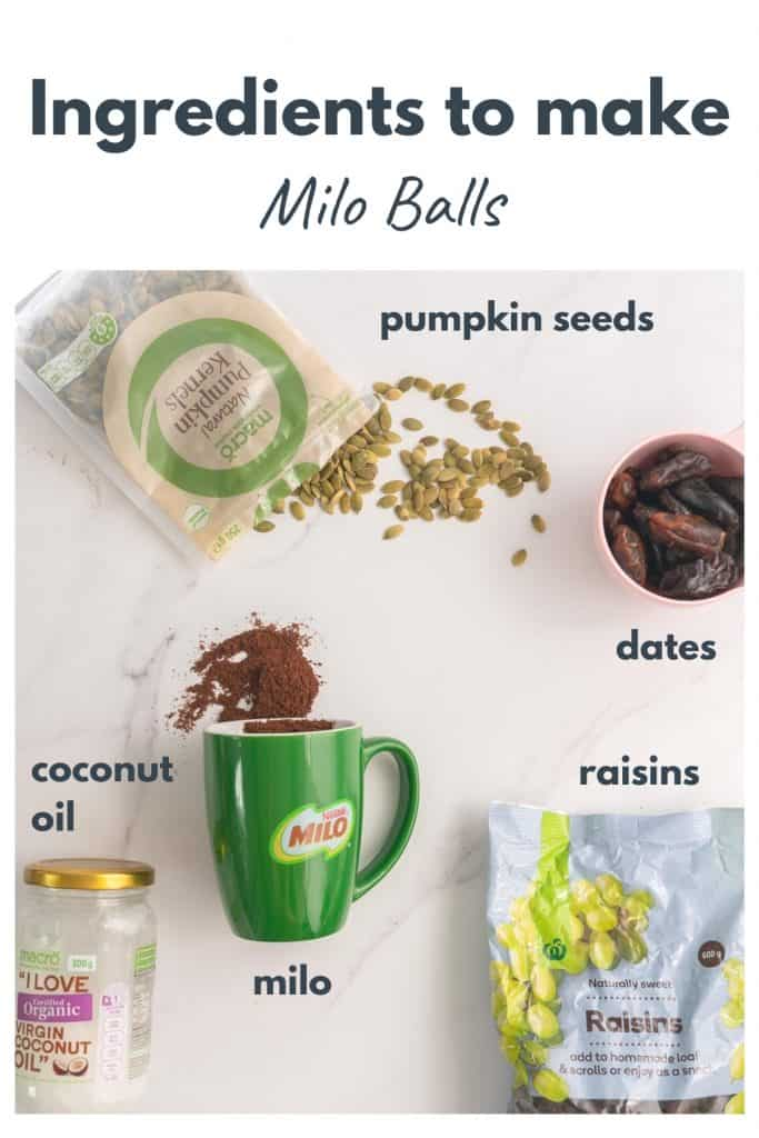 Ingredients to make milo balls laid out on a bench top with text overlay.