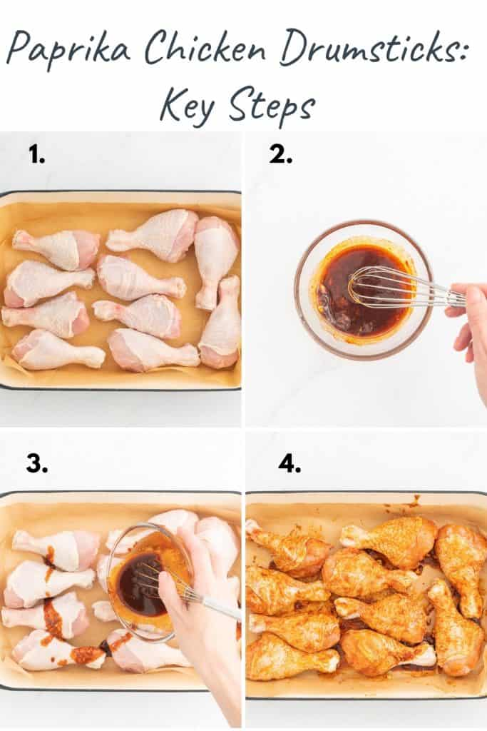 A four photo collage showing the process steps to make paprika chicken drumsticks.