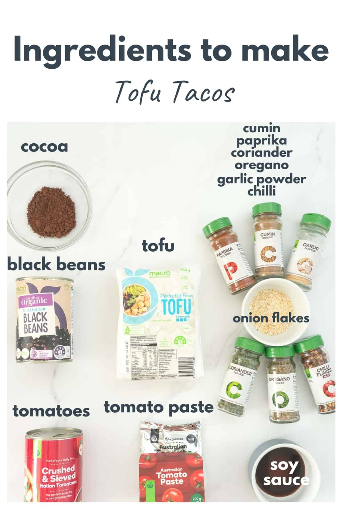 The ingredients to make tofo tacos laid out on a bench top with text overlay.