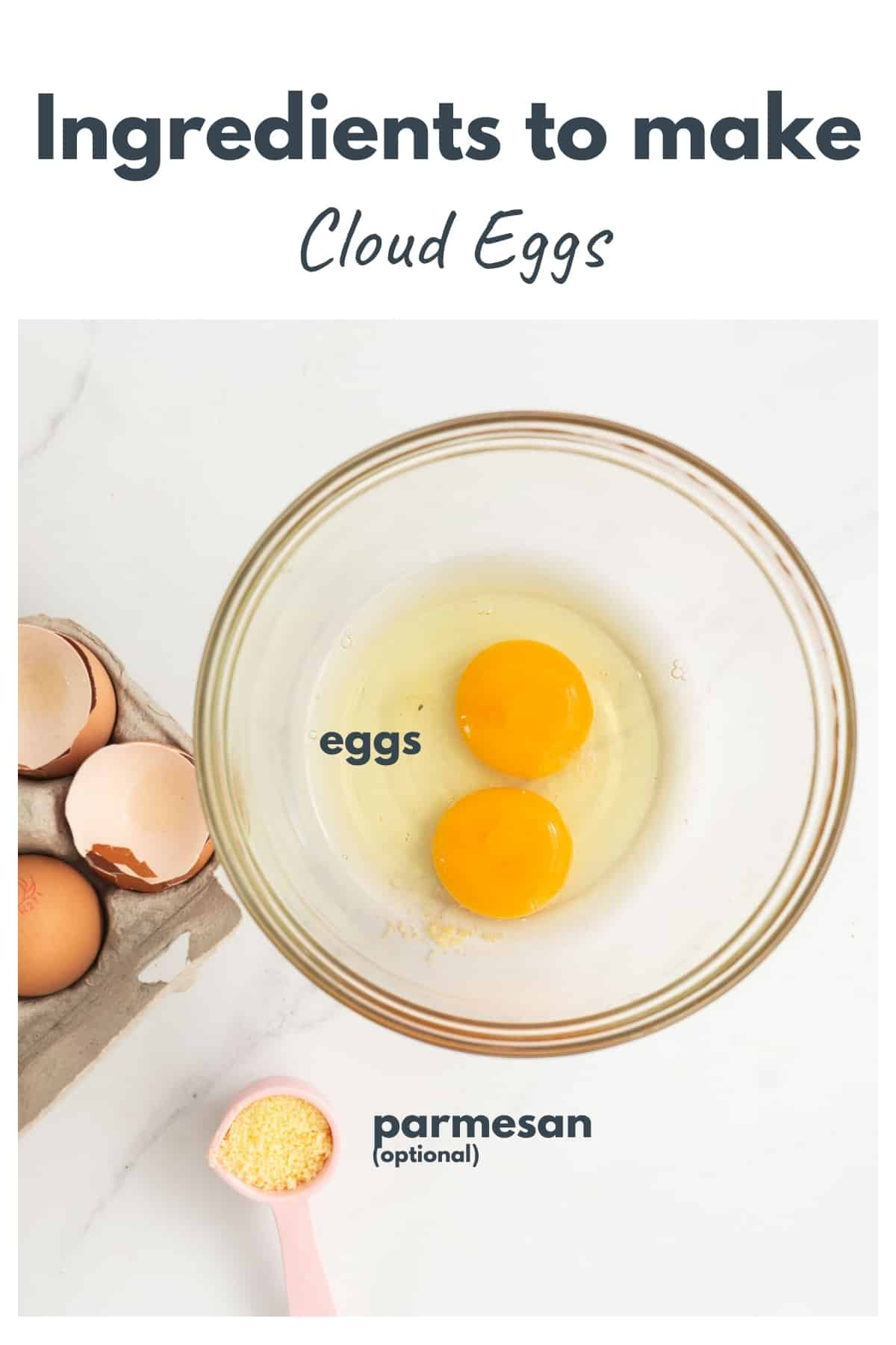 Ingredients to make cloud eggs, eggs and parmesan cheese laid out on a bench top with text overlay.