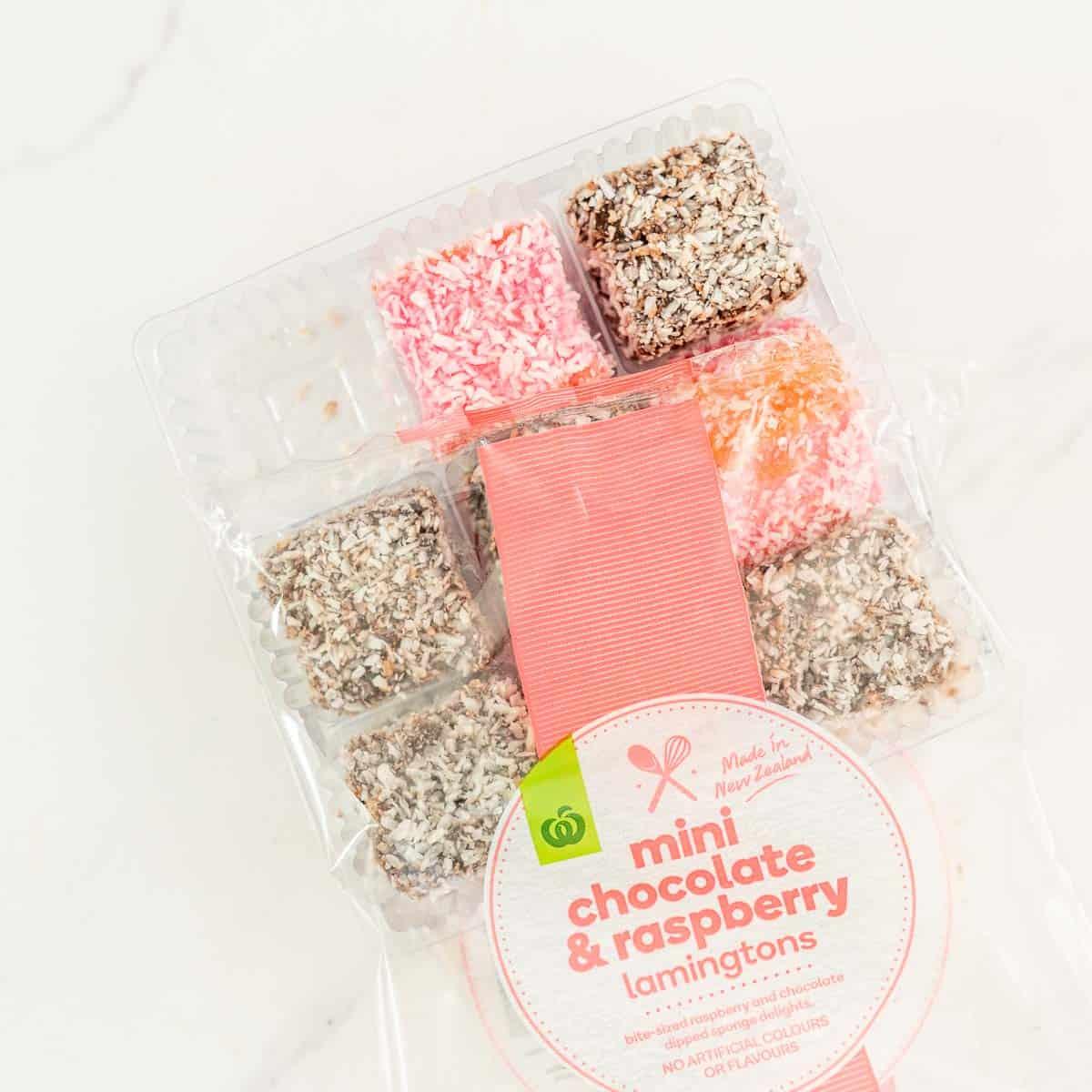 Countdown mini chocolate and raspberry lamingtons.