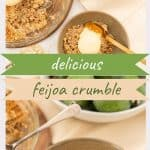 2 photo collage of feijoa crumble with text overlay 'delicious feijoa crumble'.
