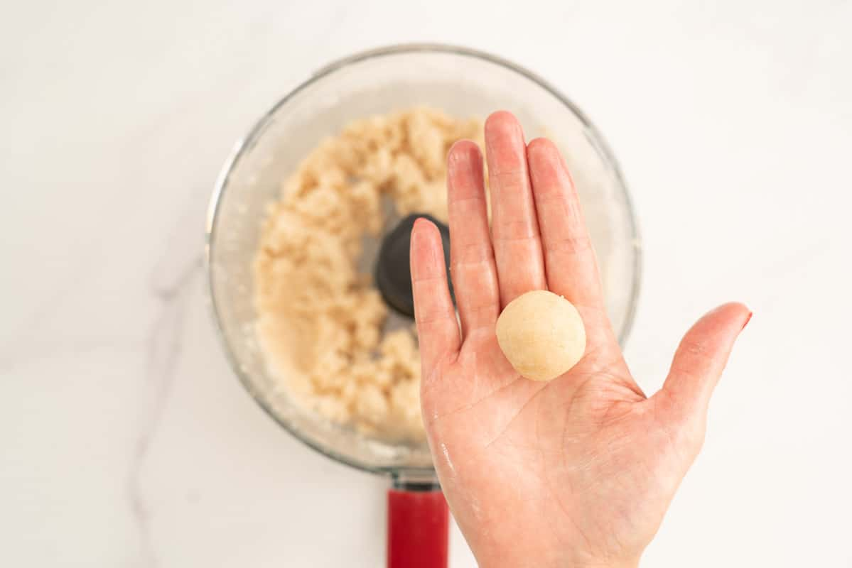 Women's hand holding a coconut ball.