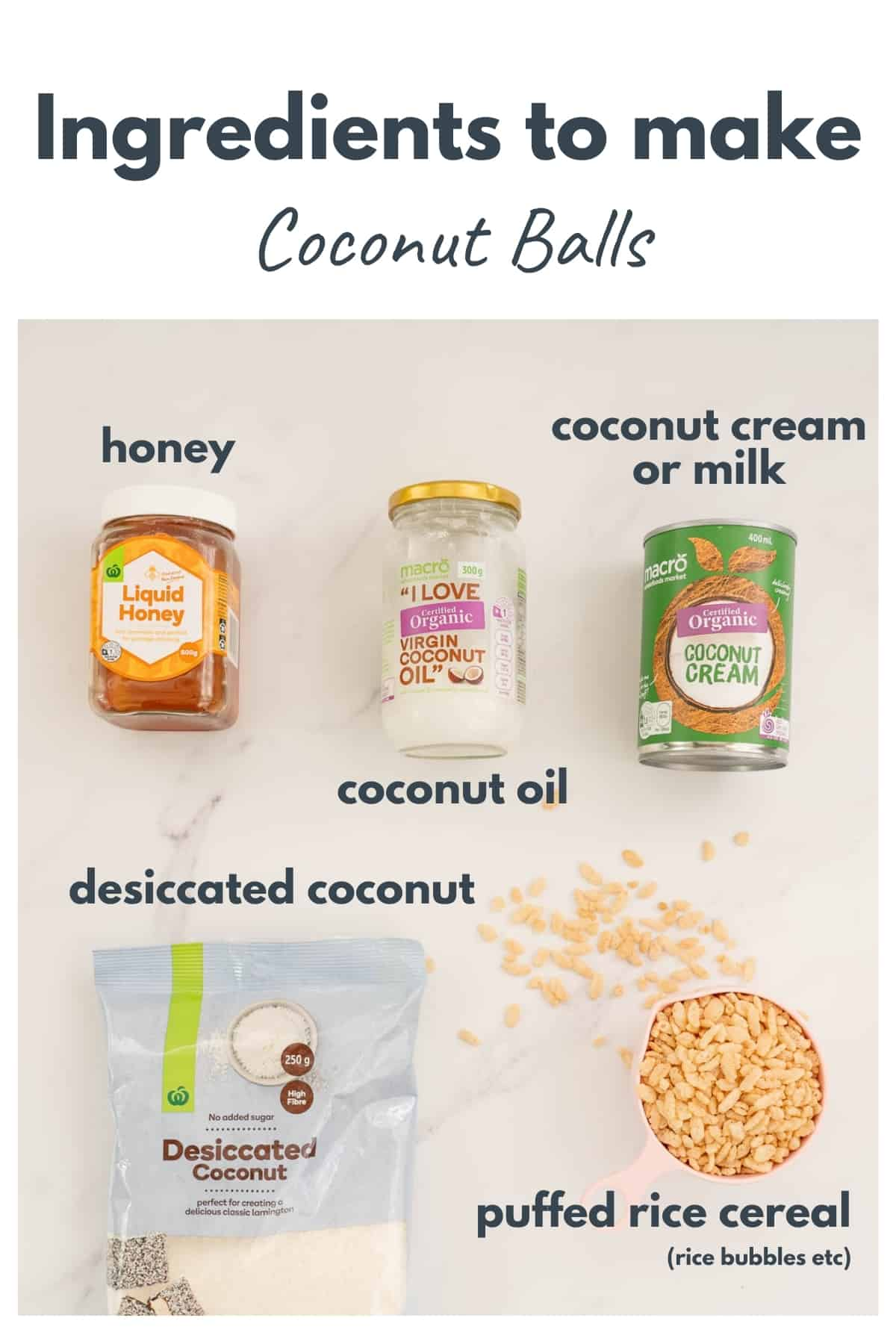 The ingredients to make coconut balls laid out on a bench top with text overlay.
