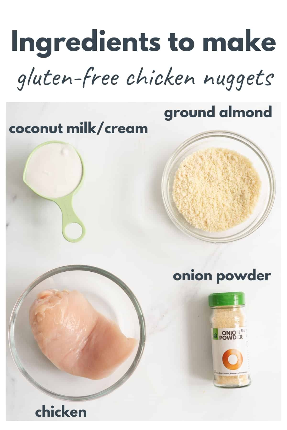 The ingredients to make gluten free chicken nuggets laid out on a bench top with text overlay.