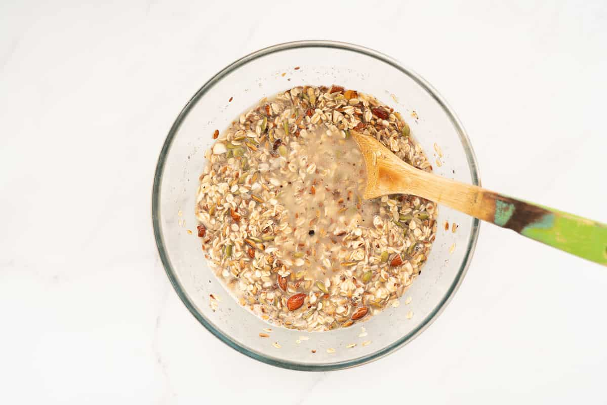 Wet Oatmeal bread mix in a large mixing bowl.