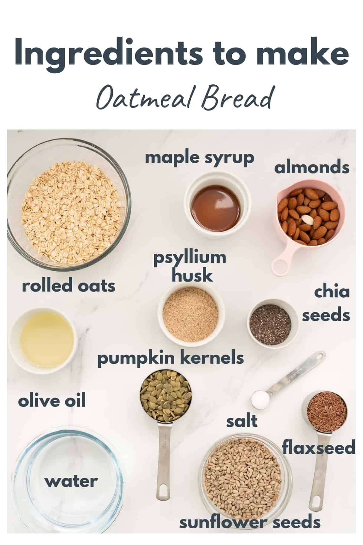 The ingredients to make overnight oatmeal bread laid out on a bench top with text overlay.