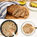 """5 photo collage of oatmeal bread with text overlay """"easy oatmeal bread""""."""