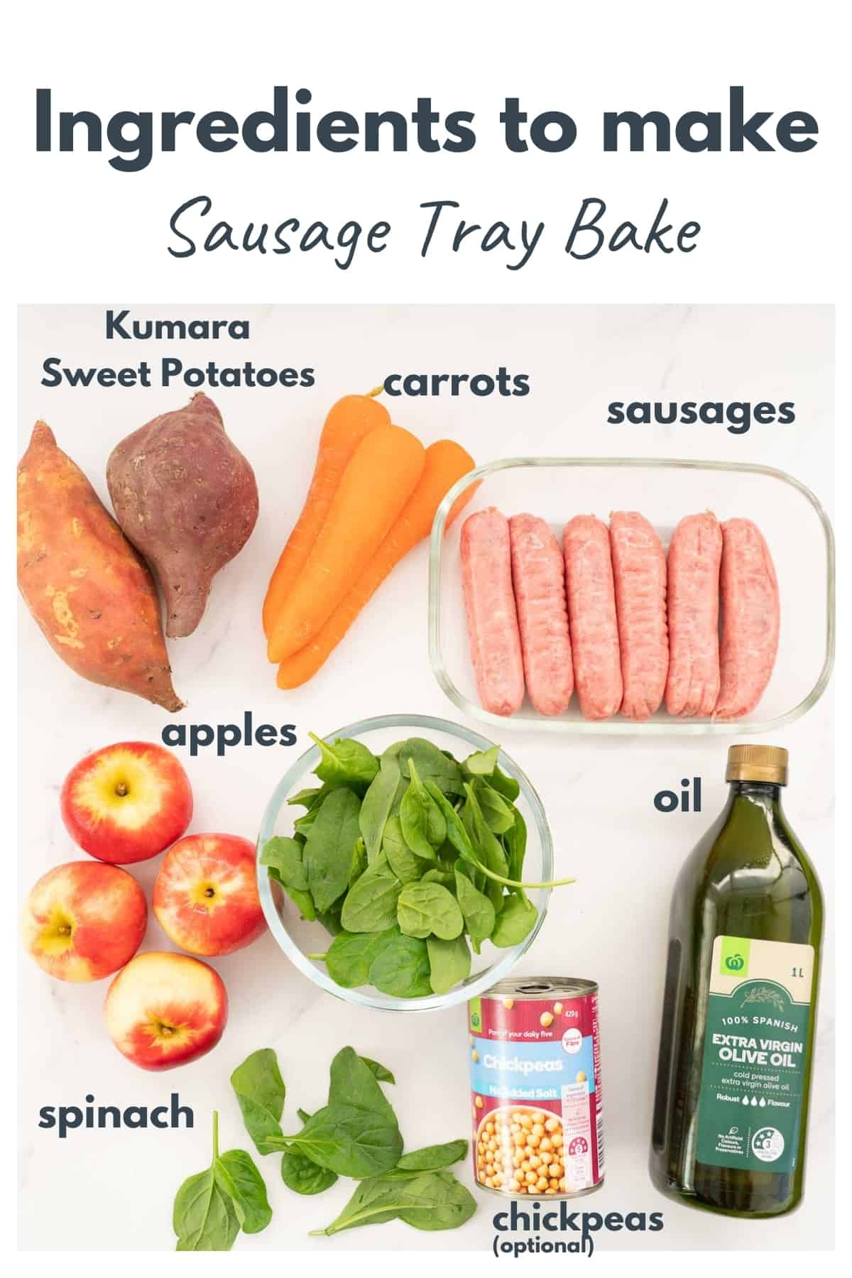 Ingredients for sausage tray bake laid out on a bench top with text overlay.