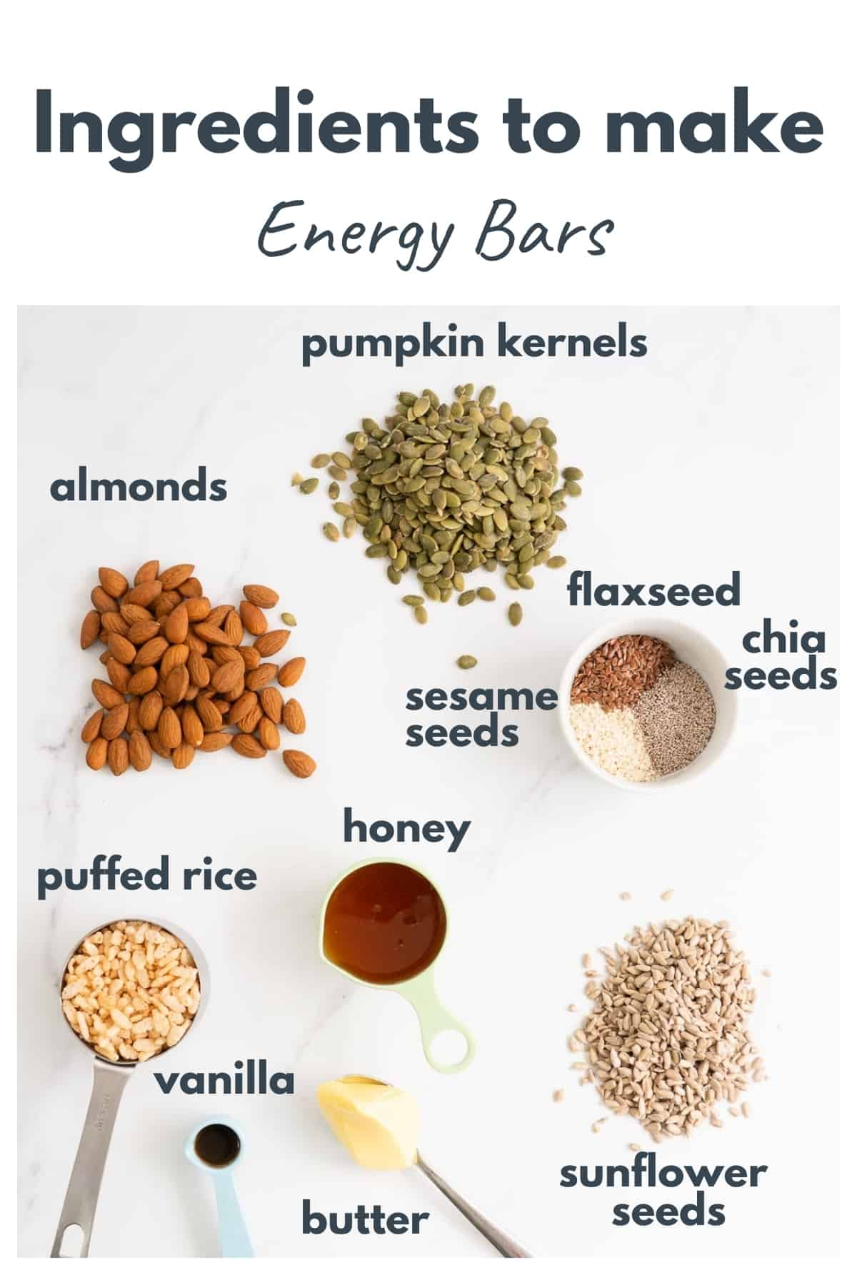 Energy bar ingredients laid out on a bench top with text over lay.