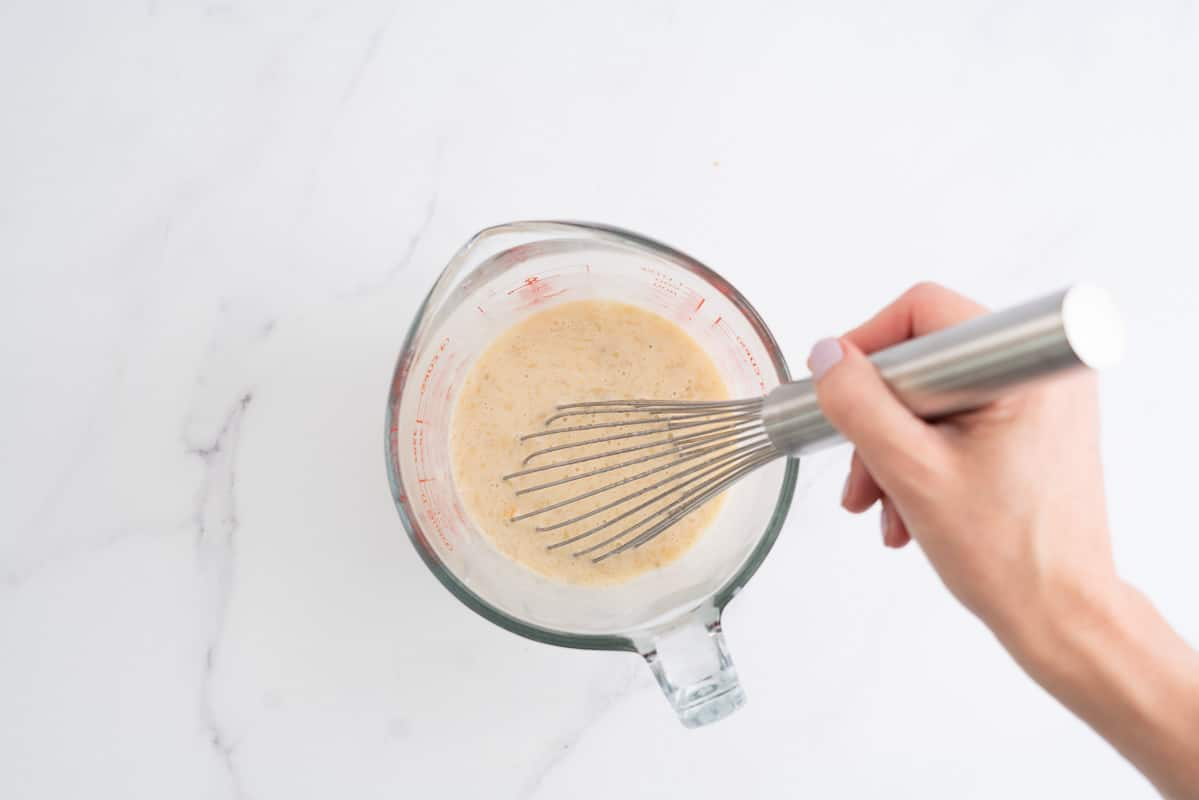 glass jug of wet ingredients.