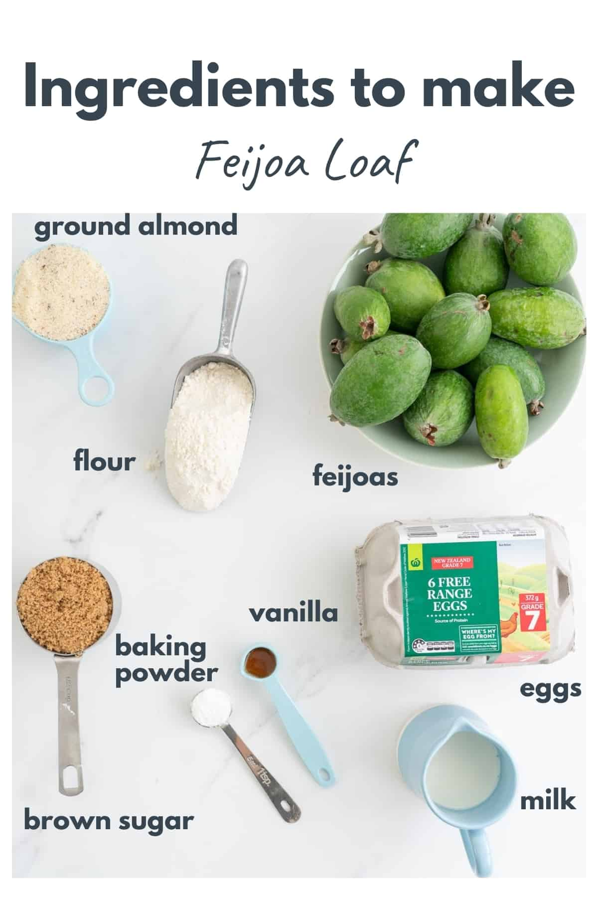 The ingredients to make feijoa loaf spread out on a bench top with text overlya.