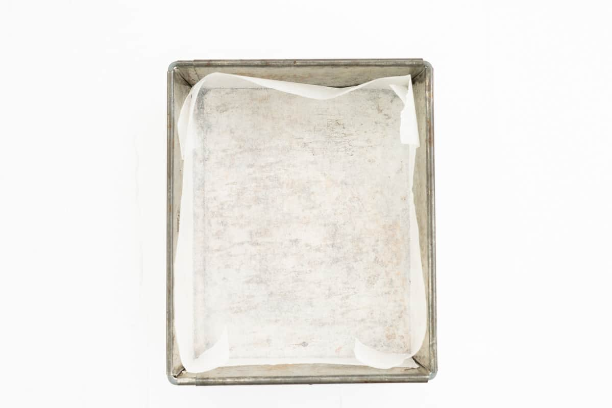 Small rectangular cake tin lined with baking paper.