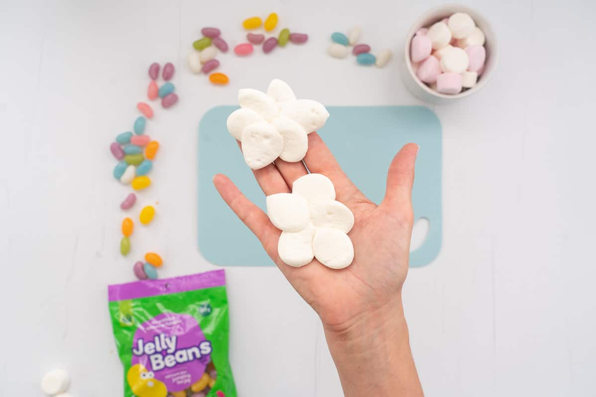 Woman's hand holding 2 clouds made from marshmallows.