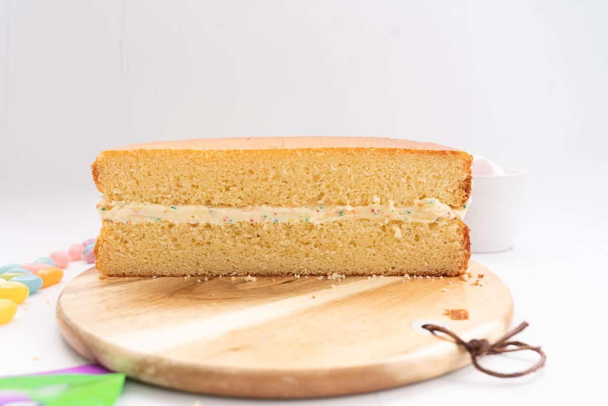 A double layer vanilla cake filled with funfetti buttercream.