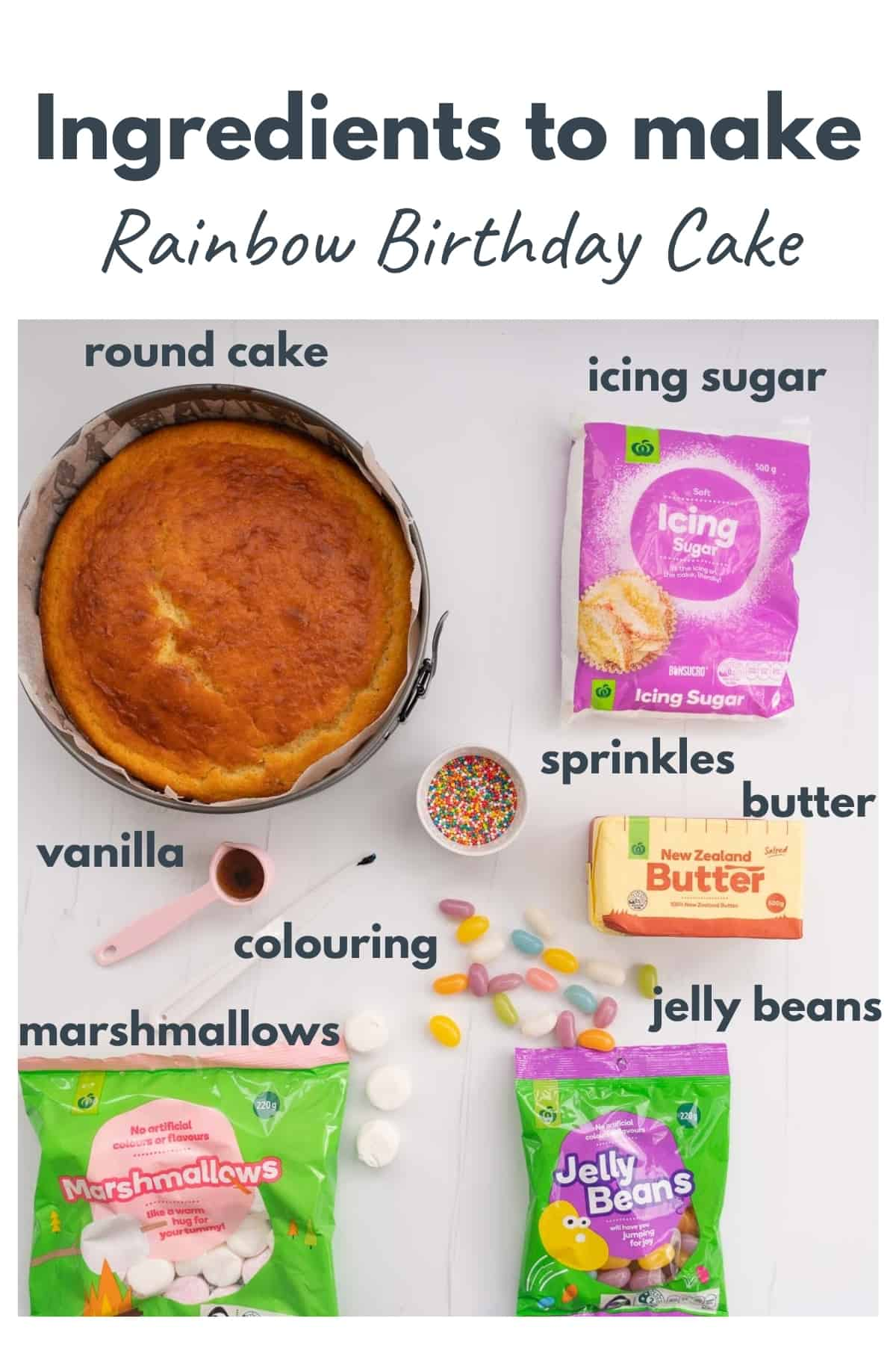 Ingredients to make a rainbow birthday cake laid out on a bench top with text overlay.