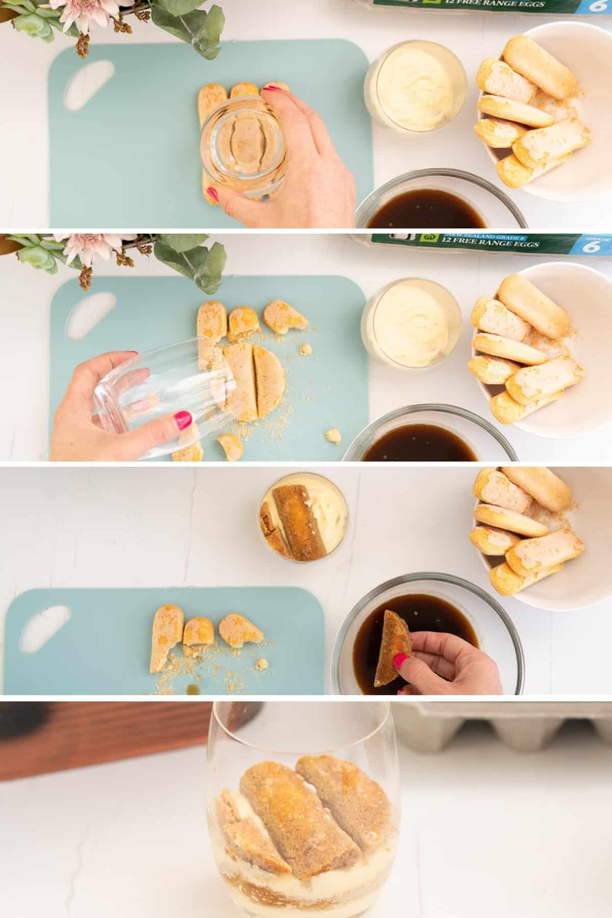 Four photo collage showing the process of cutting savoiardi biscuits to size using a glass.