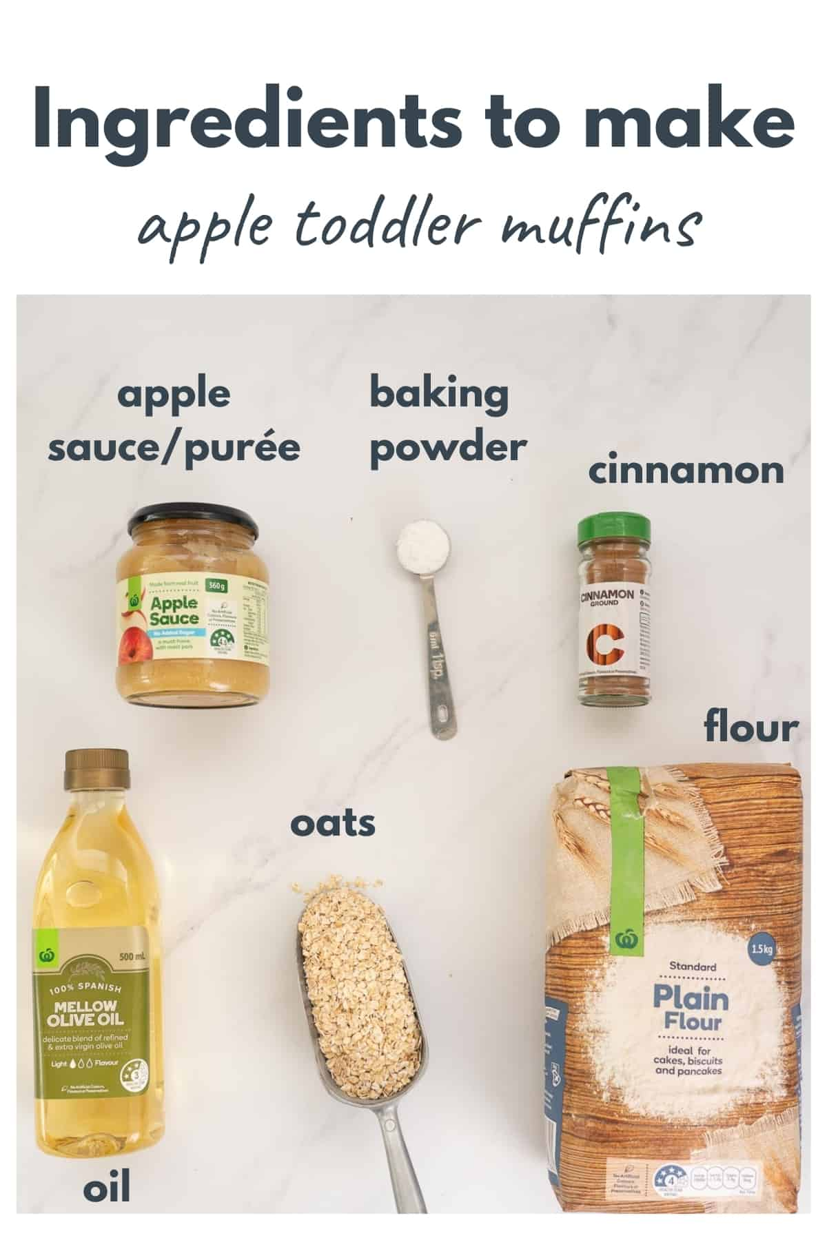 The ingredients for apple toddler muffins laid out on a bench top with text overlay.