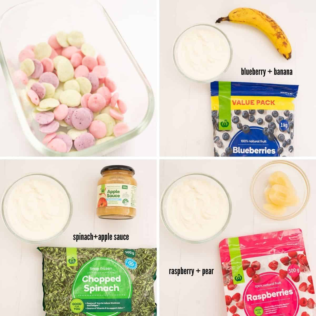 4 photo collage showing the ingredient combinations for baby yogurt melts.