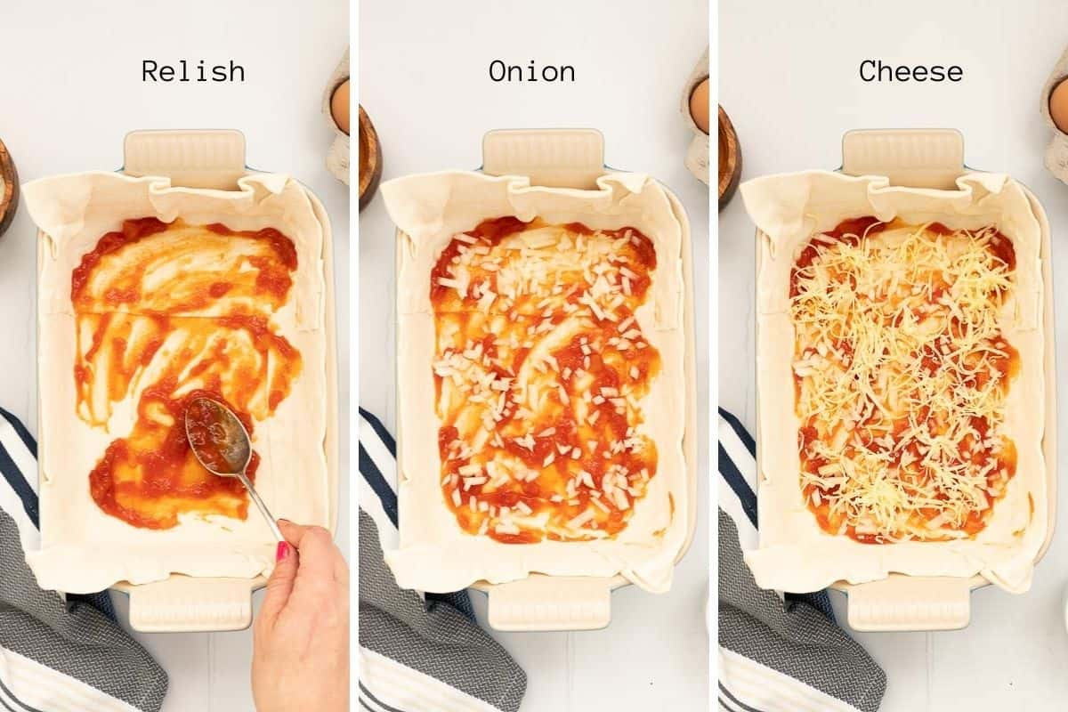 Three photo collage showing relish, onion and cheese being added to the base of a pie.