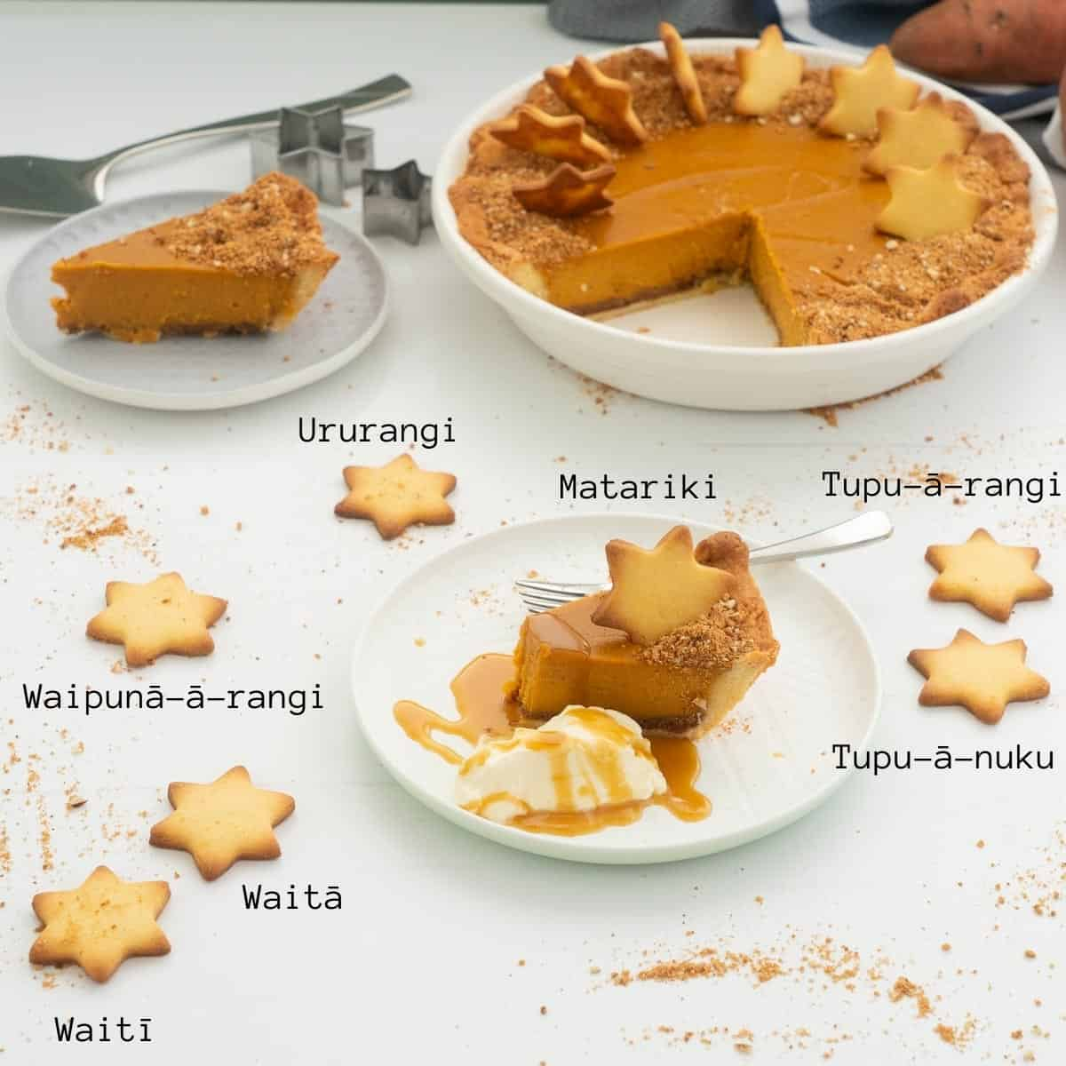 A slice of sweet potato pie decorated with stars, the seven stars are labeled in M?ori