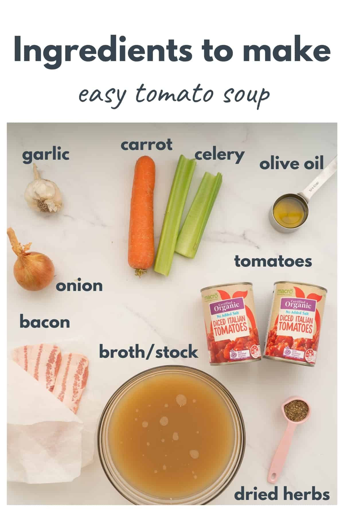 The ingredients to make easy tomato soup laid out on a bench top with text overlay.