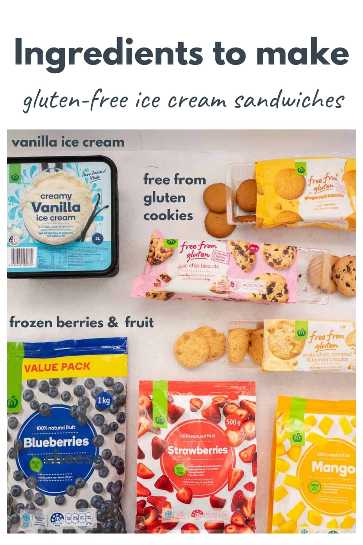 The ingredients to make gluten-free ice cream sandwiches laid out on a bench top with text overlay.