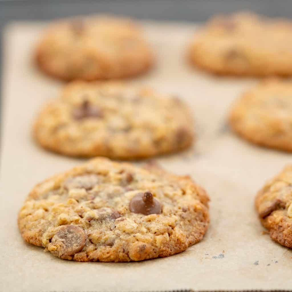 Golden baked oatmeal choc chip cookies on a baking paper lined oven tray.
