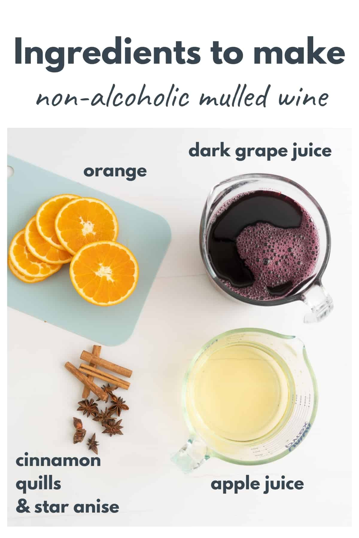 The ingredients to make non-alcoholic mulled wine laid out on a bench top with text overlay.