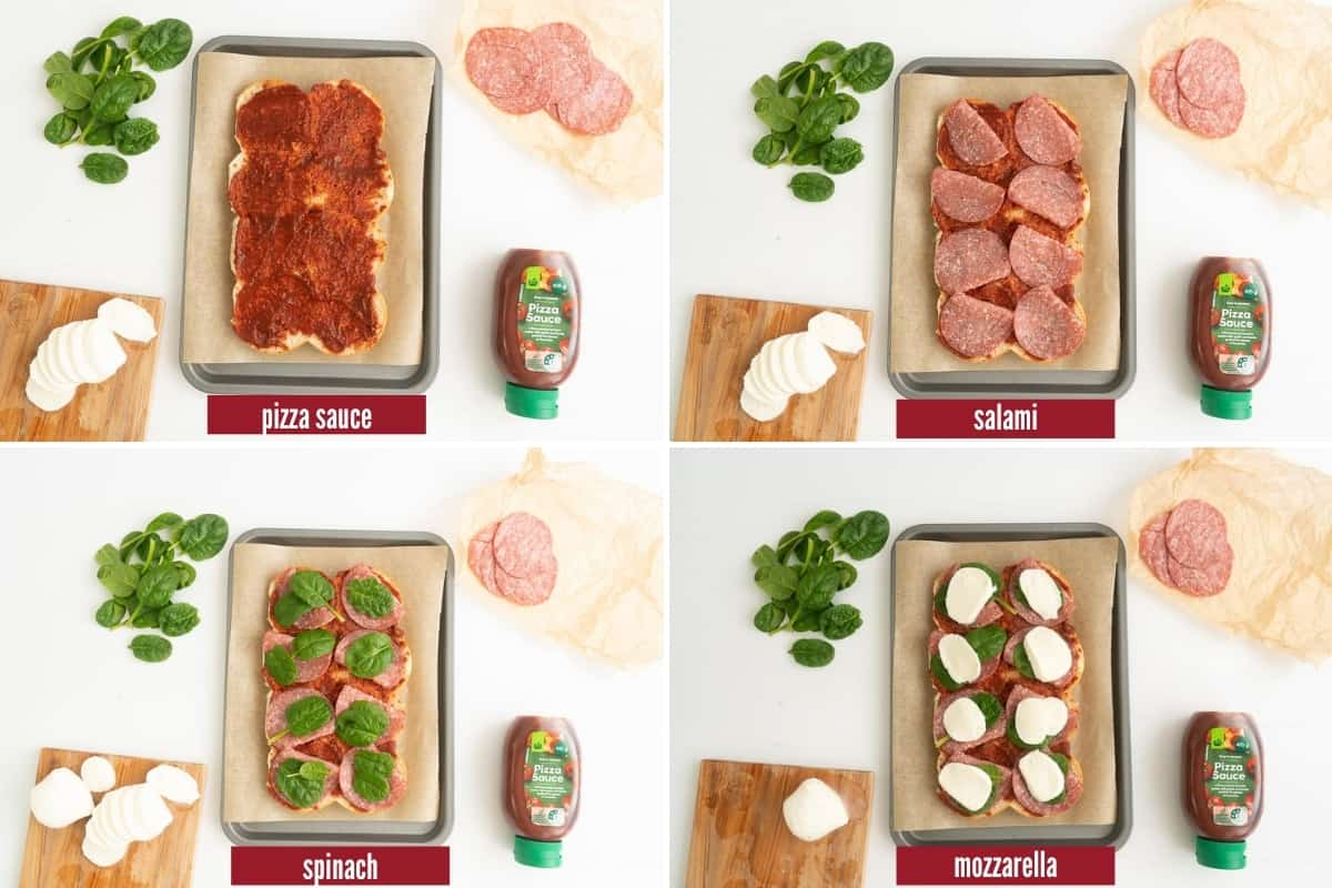 A four photo collage showing the steps to layer the fillings to make pizza sliders.