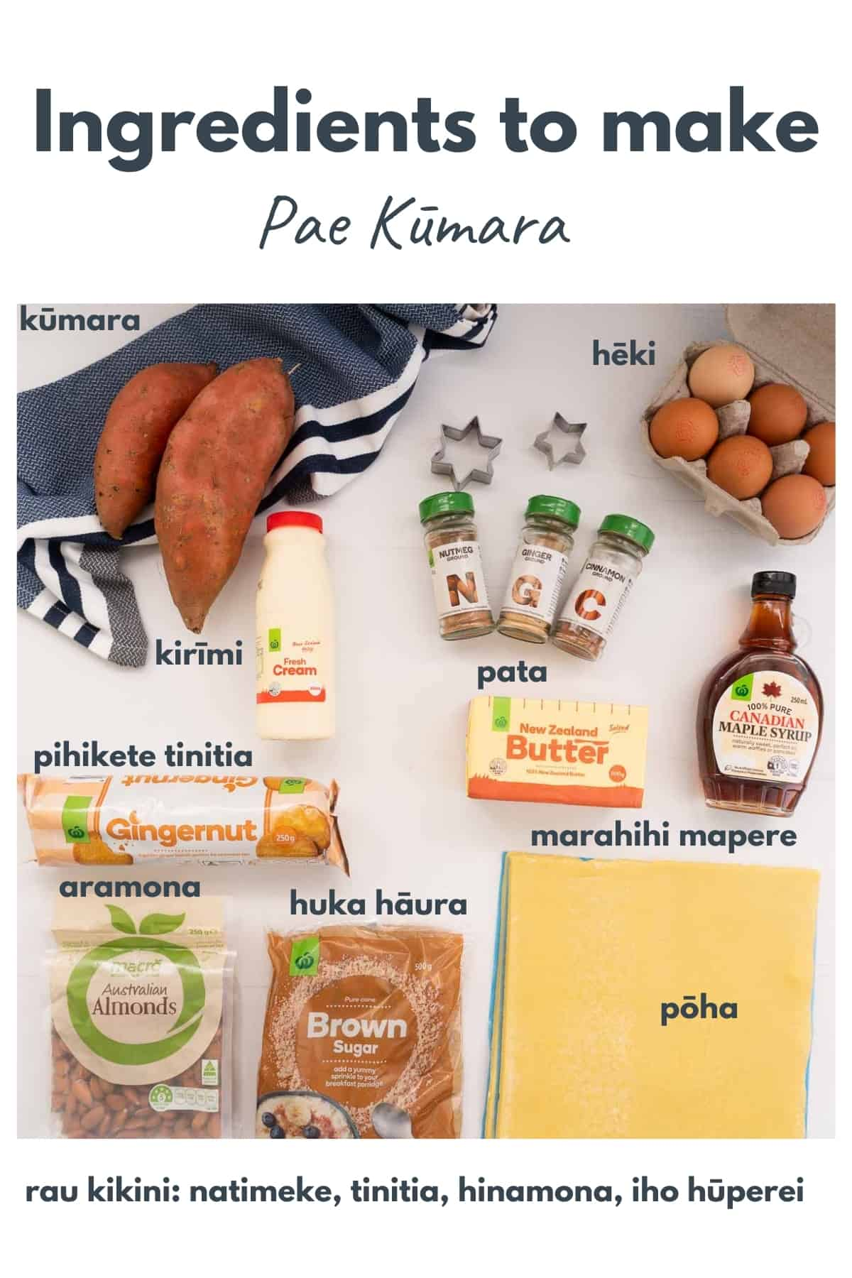 The ingredients to make sweet kumara pie with ingredients labeled in maori.