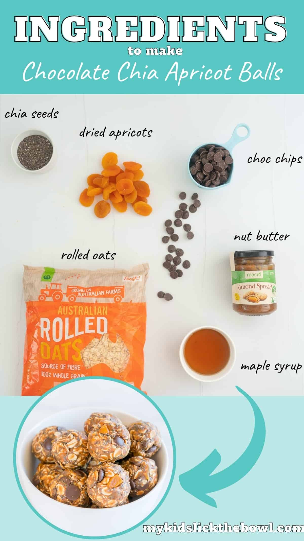 The ingredients to make no-bake apricot balls laid out on a bench top with text overlay.