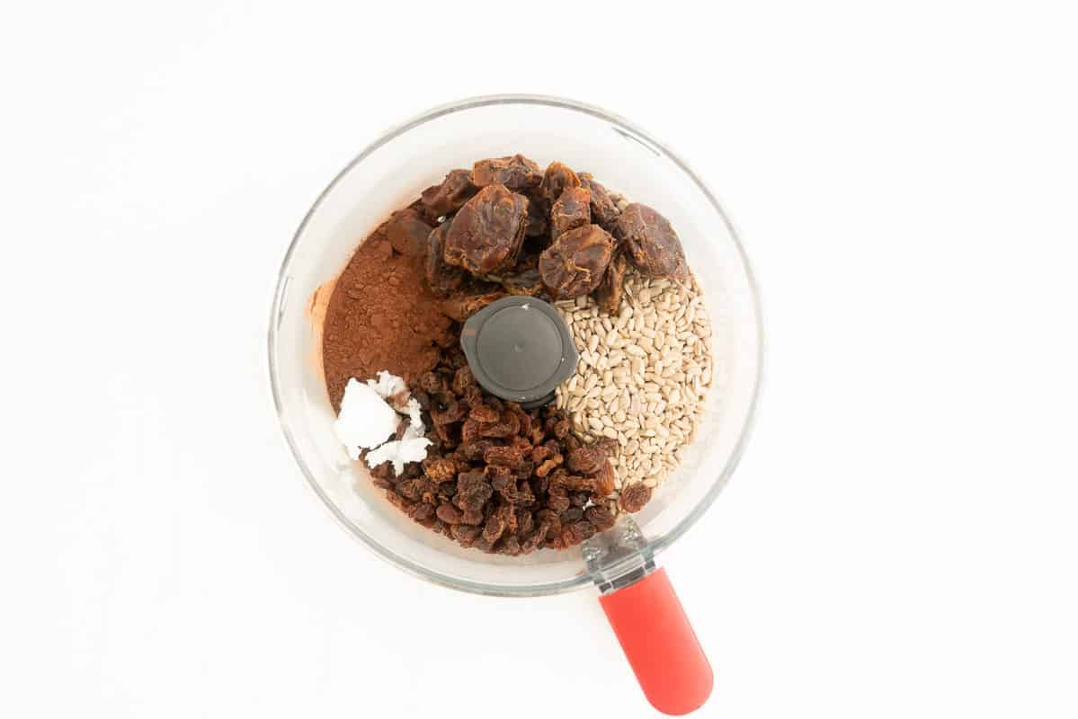 Dates, raisins, sunflower seeds, cocoa and coconut oil in a food processor.