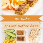A two photo collage of peanut butter bars with text overlay.