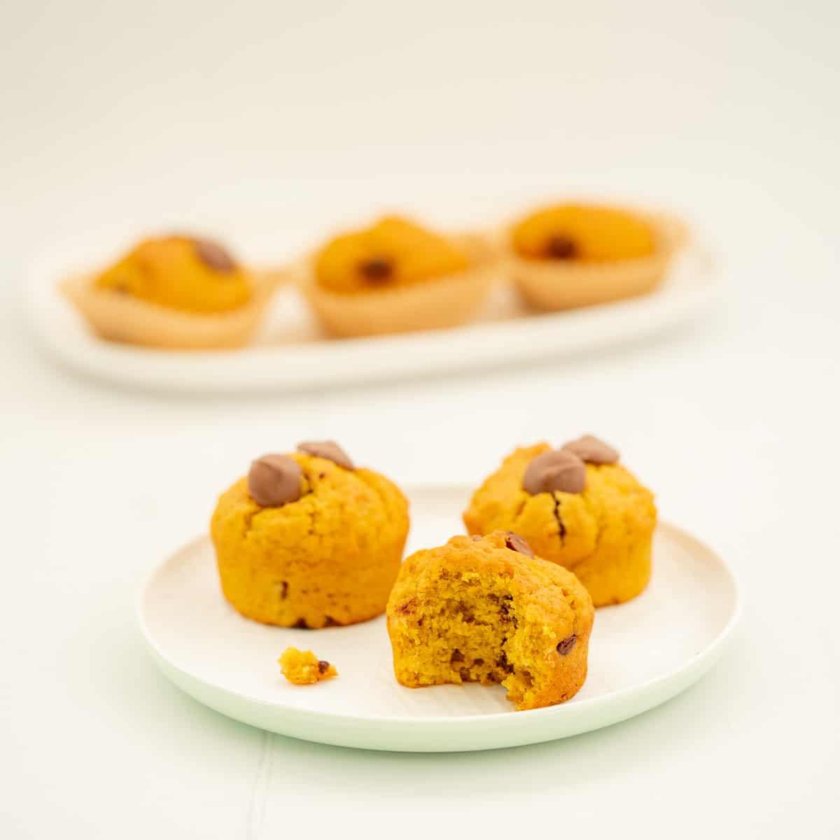 3 pumpkin chocolate chip muffins sitting on a white ceramic plate.
