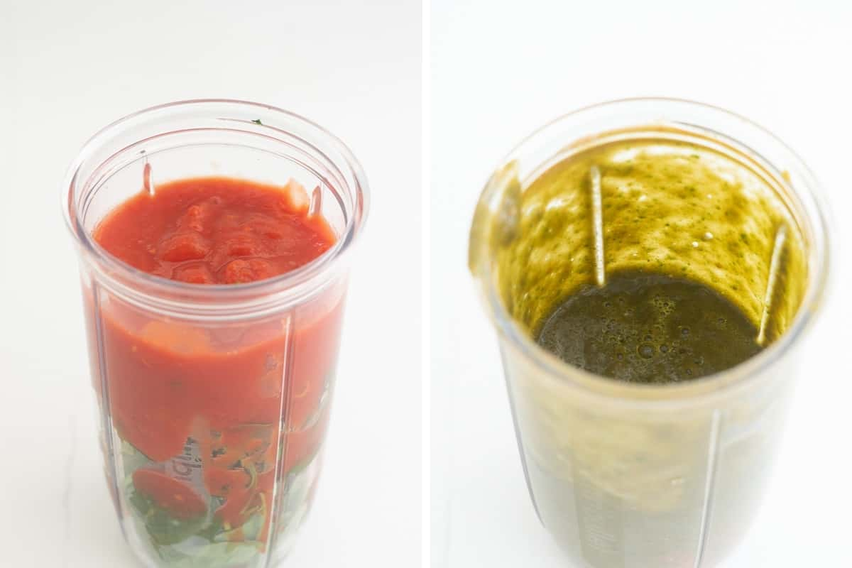 A two photo collage showing the process of making a tomato and spinach smoothie.