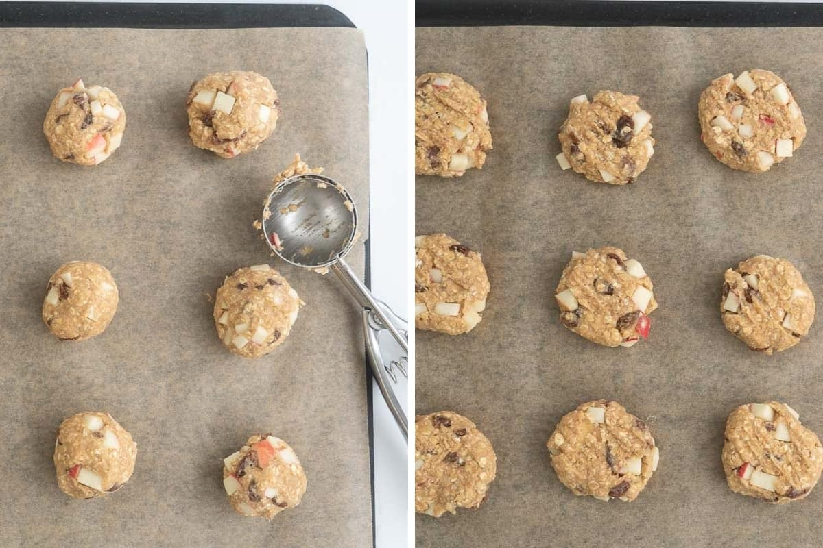A two photo collage showing cookie dough balls then the same balls flattened with a fork.